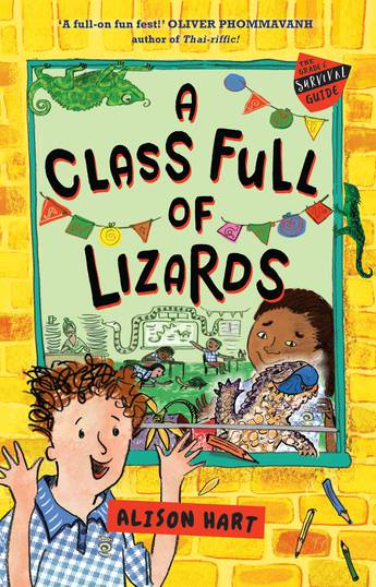 A class full of lizards: kids and lizards are below the title