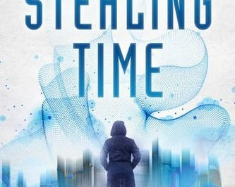 Stealing time: a woman faces a blurry city under the title