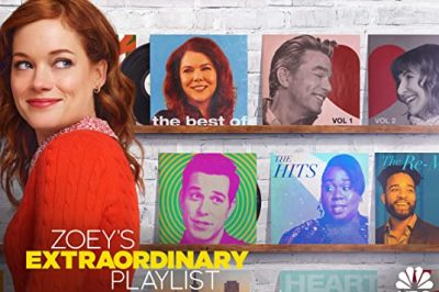 Zoey's Extraordinary Playlist: Zoey looks over her shoulder. Behind her are record album covers featuring other stars