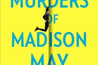 """The 22 Murders of Madison May: a woman runs into a """"fold"""" in the center of the cover"""
