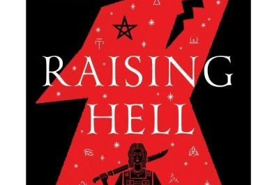 Raising hell: a woman holding a weapon is in black, a silhouette against the stylised red hell hound that takes up most of the cover
