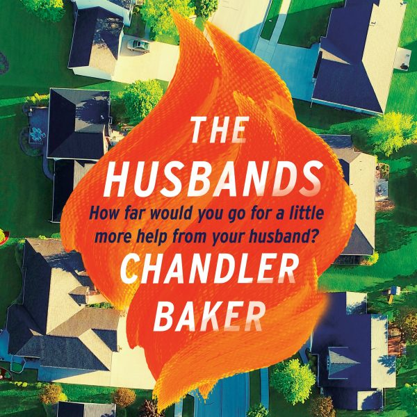 The husbands: a flame backgrounds the title and author's name, which are surrounded by a stylised painting of a suburb from above