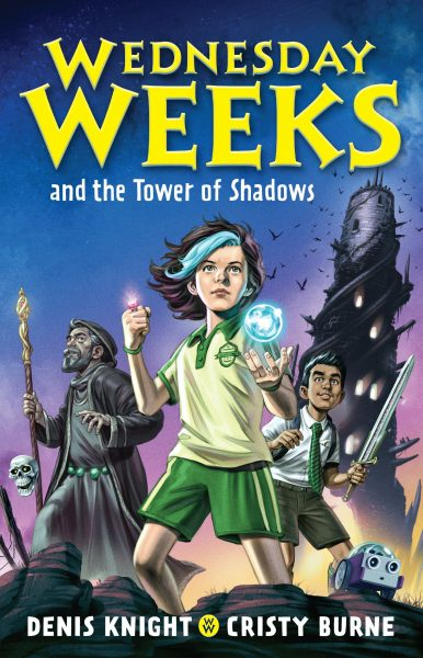 Wednesday Weeks and the Tower of Shadows: cartoon style drawing shows Wednesday, her grandpa, best friend and a tower behind them