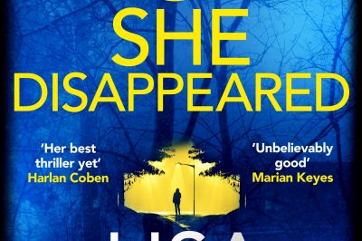 The night she disappeared: yellow title on a blue background surrounding a patch of yellow daylight silhouetting a figure