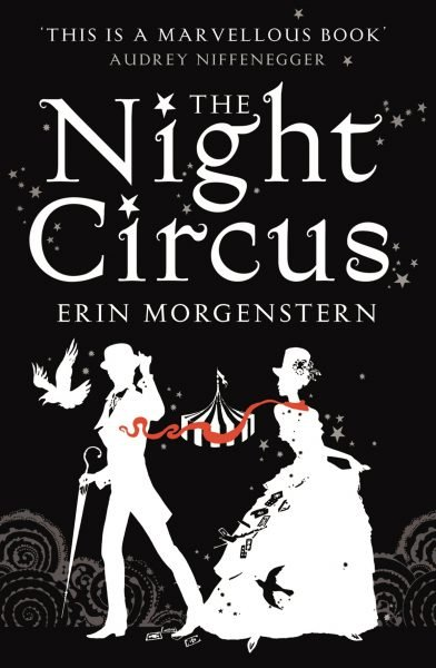 the night circus: a man and woman wearing 19th century garb are white silhouettes on a black background