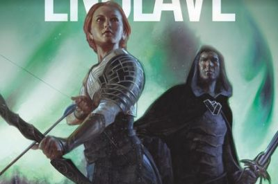 Starlight Enclave: a woman holds a bow at the ready while a man behind her holds a sword